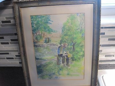Watercolor Original Painting Art Quick sketch NICELY FRAMED UNSIGNED MAN WOODS 2