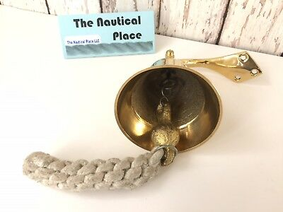 Solid Brass Ship Bell w/ Rope Lanyard & Bracket ~ Hanging Wall Decor ~ Nautical 4