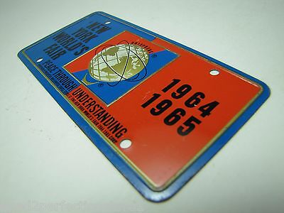 1964-65 New York World's Fair UNISPHERE Bicycle Lic Plate NYWF raised UniSphere 9