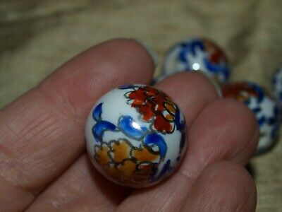 Hand Painted Porcelain Chinese Rare Vintage Bead Imari Colors 20mm Round 7