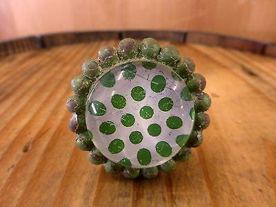8 GREEN SUN FLOWER GLASS DRAWER CABINET PULLS KNOBS VINTAGE chic garden hardware 4