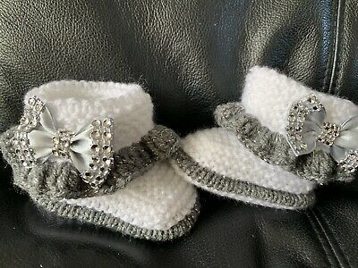 New hand knitted  Romany Bling baby girl booties/crochet hat 0-3 months 3