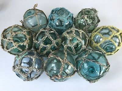 "10 x 3/"" Japanese Glass Fishing Floats ~ No Netting ~ Authentic Old Vintage"