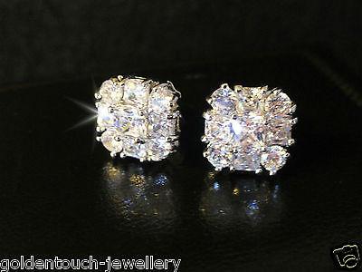 dde13f302 ... Men's square 10mm simulated diamond 18k white gold filled stud earrings  /UK 5