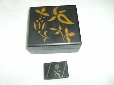 Antique Black Wooden Box Oriental Scene And Jewellery Box And Small Trinket Box 2
