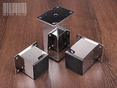 4-er SET / 50x50 CHROM Möbelfuß Möbelfüße Sockelfüße Schrankfuß Sofafuß Fuß N053