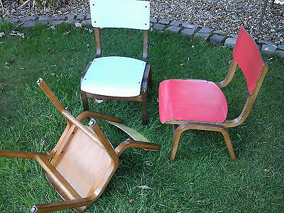 RARE COLLECTORS~ 1x Antique Vintage Wooden Child School Desk Chair (3 available) 7