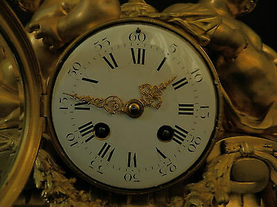 Antique French Solid Bronze Neo Classical Figural mantel Clock ca 1880 9