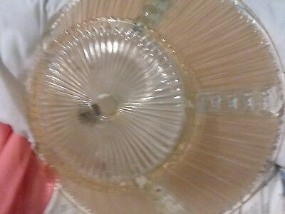 Vtg Deco Era Semi Flush Glass Shade Chandelier 1930s PEACH/CLEAR RIBBED MOTIF 11 2