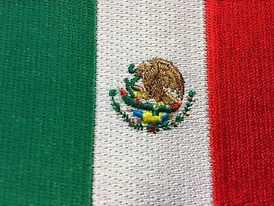 """AMERICAN FLAG & MEXICAN FLAG EMBROIDERED PATCH IRON-ON SEW-ON MEXICO  (3½ x 2¼"""") 5"""