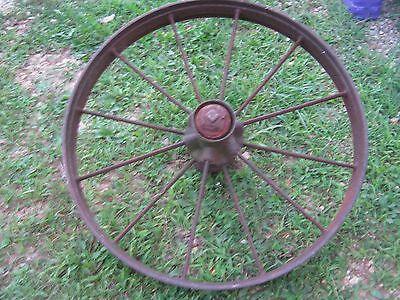 """Vintage Rustic Iron Farm Implement Wheel 32"""" diameter x 4"""" wide Farm decor 6"""