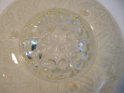VINTAGE 1930/40'S 3-Hole CHAIN CEILING LIGHT FROSTED EMBOSSED SHADE 3