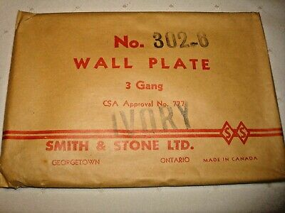 Vintage Smith & Stone Bakelite 3 Gang Ivory Ribbed Combo Wall Plate Nos 302-6 4
