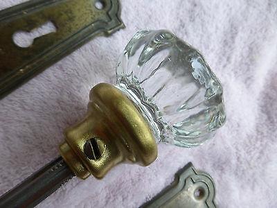 Vintage set of steel Art Deco/Nouveau plates, 12pt crystal glass knobs- Set #6