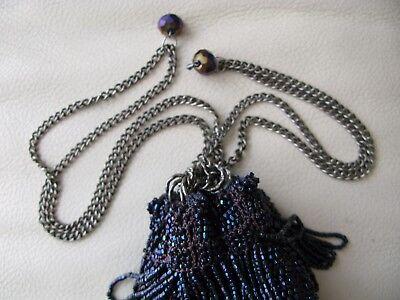 Antique Art Deco Crochet Iridescent Peacock Blue Bead Chain Drawstring Purse Periods & Styles
