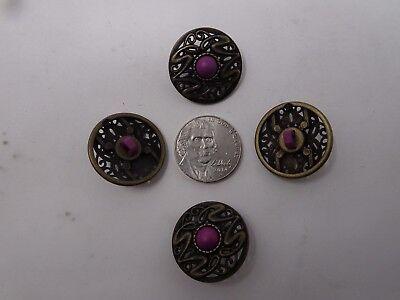 Vtg Ornate Art Deco Faux Purple Rhinestone Shank Buttons 15mm Lot of 8 88-2-11 4
