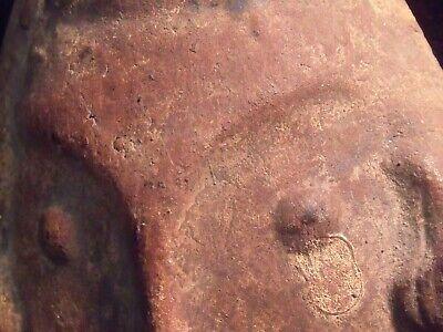 "Antique Pre-Columbian 9 1/4"" Pottery Face Mask 6"