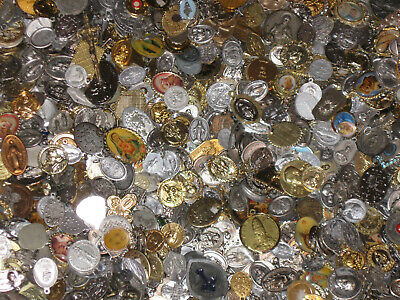 Lot of (25) Vintage Catholic Religious Medals Relics Charm Pendants Sterling NOS 4