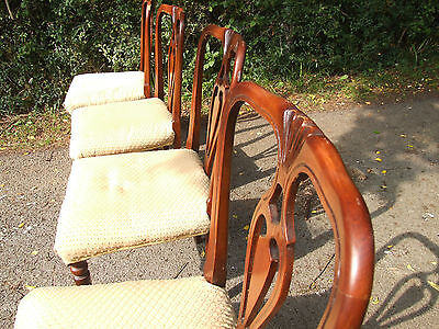set of 4 wooden chairs, upholstered seats 5