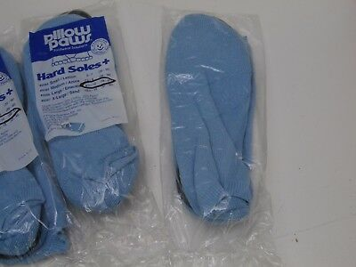 4 Pair lot PILLOW PAWS hard soles + Large 8.5-10 blue