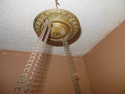 Antique Hand Painted Milk Glass & Ornate Brass Hanging Kerosene Lamp Chandelier 3