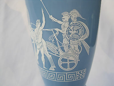 Light Blue Decanter / Urn / Bottle with Greek Horse and Chariot Theme