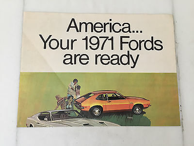Vintage 1971 Ford Auto Dealer Brochure Poster Mustand Torino Pinto Cobra GT 500 2