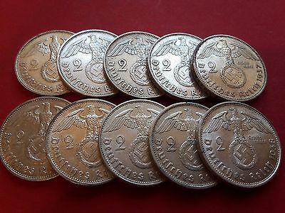One (1) WW2 German 2 Mark Silver Coin Third Reich With Large Swastika Reichsmark