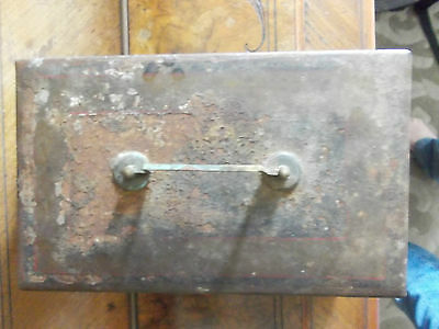 Vintage Metal Cash Tin With Internal Tray , No Key 9