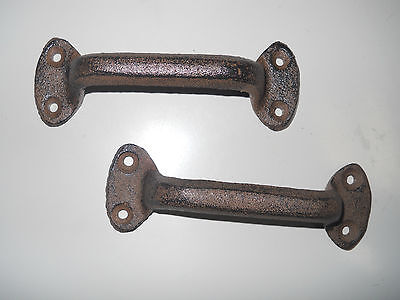 4 Cast Iron Antique Style RUSTIC Barn Handle, Gate Pull, Shed / Door Handles HD 3