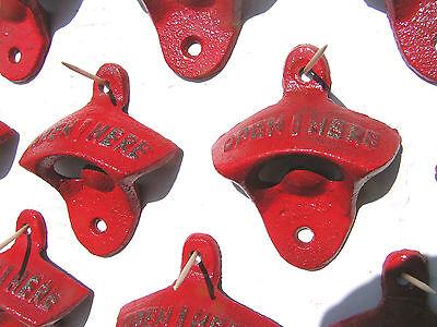 Ten Cast Iron Soda Pop Bottle Openers RED 4