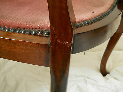 Antique Original Walnut Elbow Chair,Rose Coloured Upholstery,Beautiful Inlay. 10