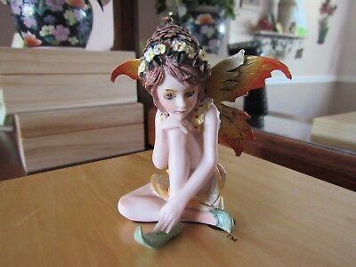 "FAIRY GARDEN miniature 3"" Small Sitting Fairy Figurine with acorn hat NEW in BOX"