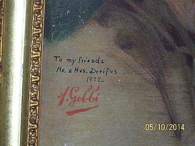 """Rare"" Alpenore Gobbi Antique Original Oil On Panel Side Portrait Painting 4"