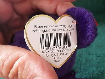 Rare 1997 Princess Diana Ty Beanie Baby 1st Edition P. E. PELLETS NO SPACE MINT