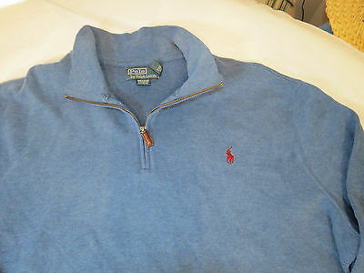 Polo Ralph Lauren 1/4 Maglione Zip T-Shirt Manica Lunga XXL 2XL da Uomo Blu EUC 2