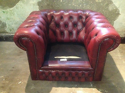 Vintage Chesterfield Armchair ClubChair ButtonBack Fireside Wing OxBloodLeatherx 11