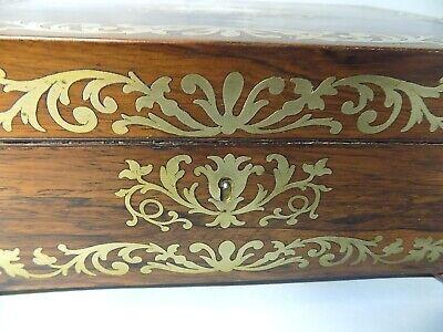 Antique Regency Rosewood Sewing Box. Brass Inlays. Original. Genuine. 3