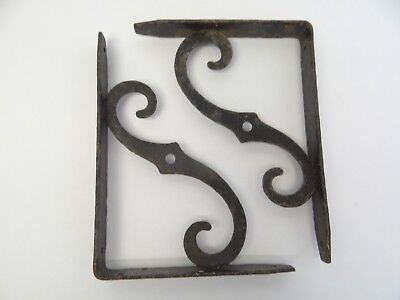 Vintage Pair Used Black Iron Wall Hanging Shelf Brackets Holders Parts 2
