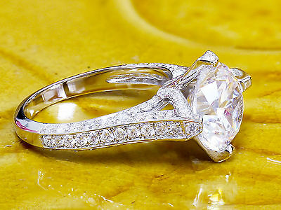 14K White Gold Round Forever One Moissanite and Diamond Engagement Ring 2.20ct 3