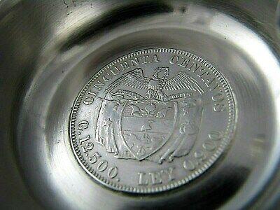 Colombian Coin Silver Ashtray 1912 50 Centavos 1942 10 Centavos 900 Silver Coins 8