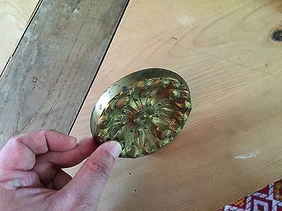 Antique 19th c. Spun Brass Gilt Drape Curtain Tieback Tie Back Federal Empire 9