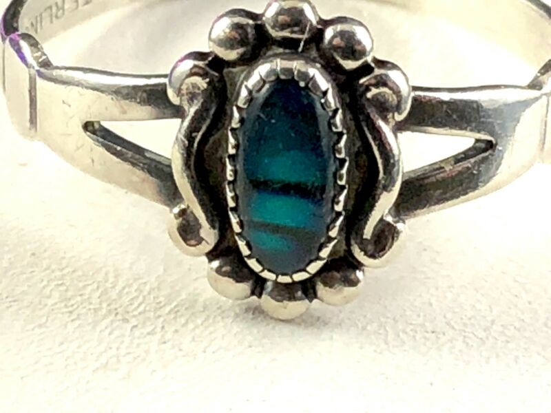 Striking Signed Wheeler Manufacturing Sterling Silver Paua Shell Accent Ring 5