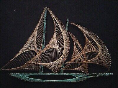 Tres Dimensional Escultura Del Barco sobre Madera Panel Firmado 2