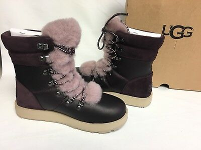 d700798bef5 UGG AUSTRALIA VIKI WATERPROOF EXPOSED SHEARLING LACE UP Boot 1017493 Port  sz 6