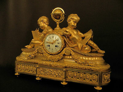 Antique French Solid Bronze Neo Classical Figural mantel Clock ca 1880 3