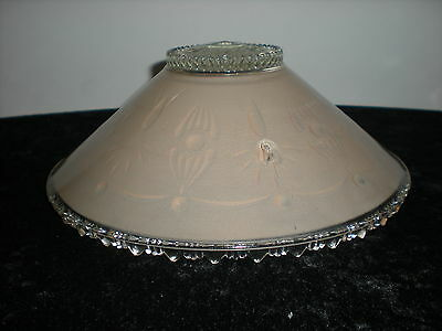 Vtg Art Deco Pink Clear Flower center 3 Chain Light Hanging Chandelier Shade 3
