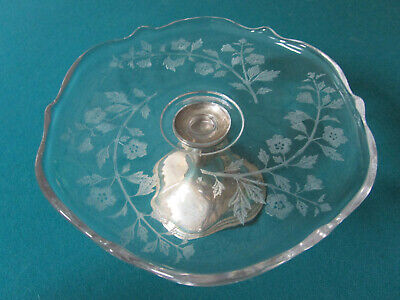 Antique Sterling  Etched Glass Footed Dish Coasters Bowl Cake Plate Shaker Pick 3