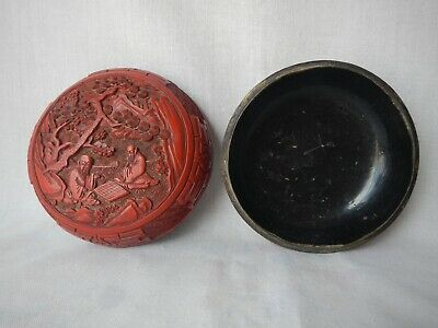 Antique Carved Chinese Cinnabar Lacquer Box Deep Vivid Red Figural Men Checkers 6