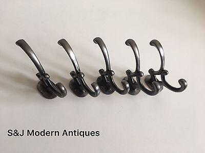 Double Coat Hook Iron Antique Modern Vintage Black Grey Hat Rack Addison Set 5